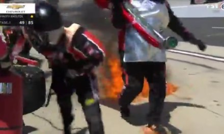 NASCAR Pit Crew Member Caught On Fire