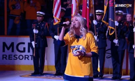 Carrie Underwood Sang the National Anthem Before Game 2 of the Jets-Predators Series
