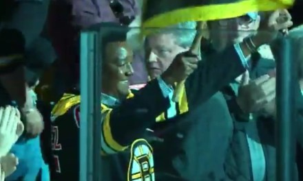 Pedro Martinez Served as a the Bruins Honorary Banner Captain