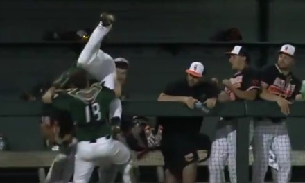 Stetson's 3rd Baseman Made a Great Catch on a Foul Ball and Ended Up in the Dugout