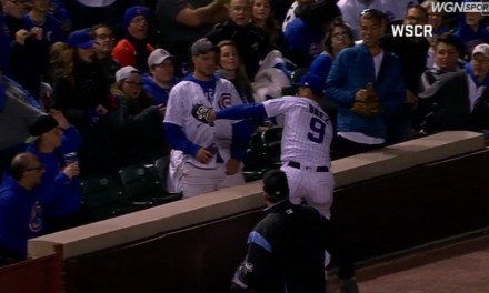 Javy Baez Goes into the Stands After Making a Catch