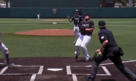 Run Scored in a Super Regional Game on a Pop Up Off of a Player's Groin