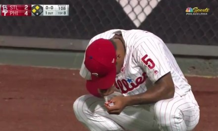 Phillies Outfielder Left Game After Taking a Fly Ball to the Nose