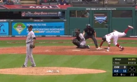 Rajai Davis Took a 94 MPH Fastball to his Chief Wahoo and Cartwheeled it Off