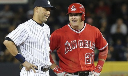 Mike Trout Asked  Derek Jeter for an Autograph During a Game