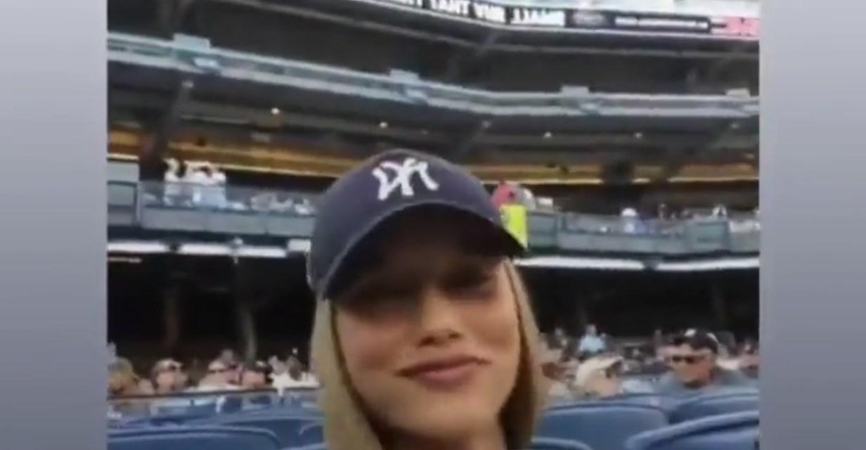 Model Chase Carter at Yankee Stadium to Watch Giancarlo Stanton?