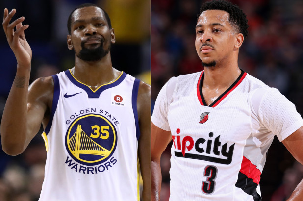 620a7d19152 Kevin Durant and McCollum Go At Each Other On Twitter Over  Soft  Remark