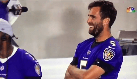 Joe Flacco and Robert Griffin III Spotted Laughing on the Sideline after Lamar Jackson Threw an Interception