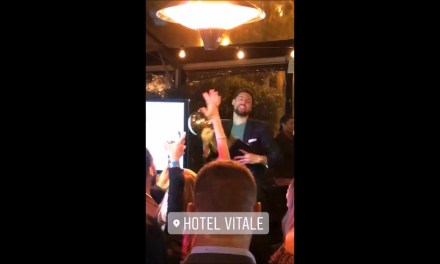 Klay Dances with the NBA championship Trophy