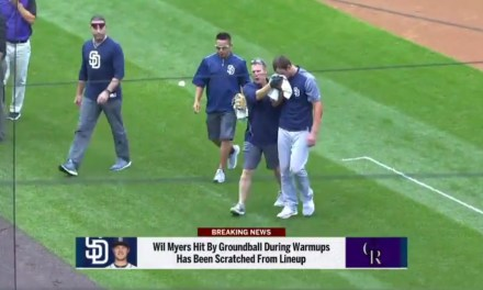 Wil Myers Missed Wednesday Night's Game After Taking a Groundball to the Face During Warmups