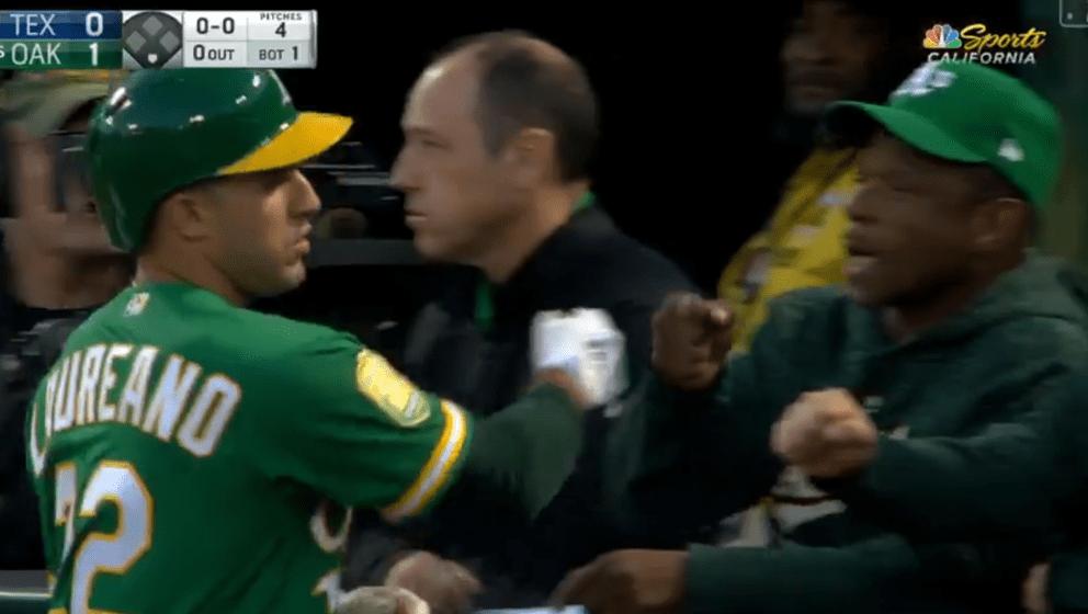 A's Leadoff Man Ramon Laureano Gets Fist Bump from Rickey Henderson