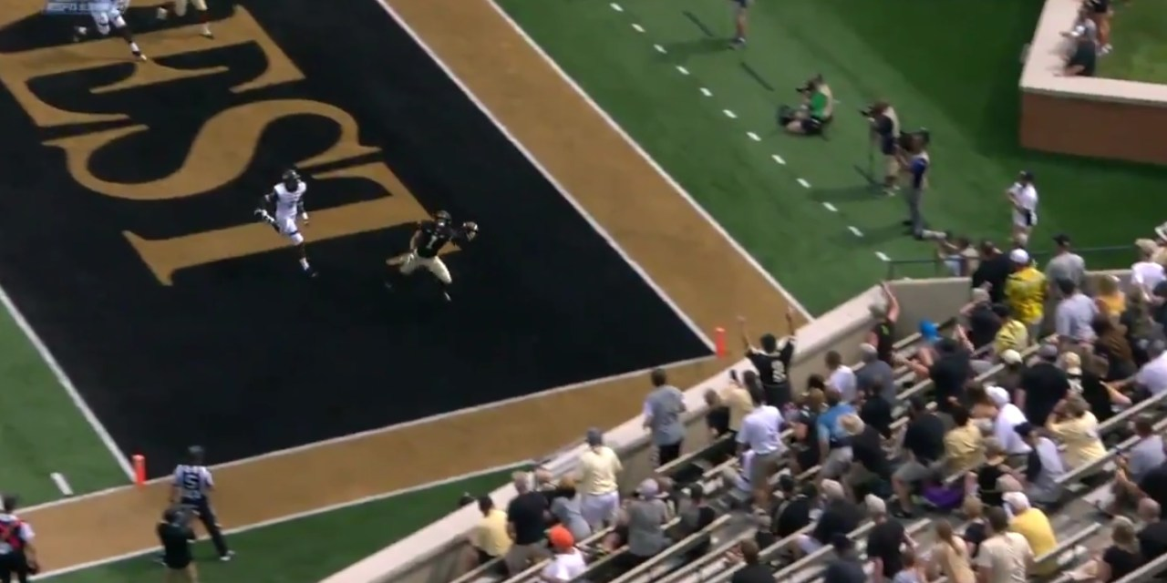 Wake Forest Receiver Alex Bachman makes an Insane One Handed Catch