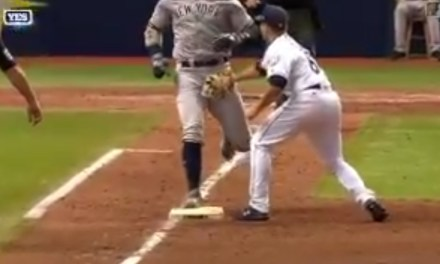 Aaron Judge was Tagged in the Junk on an Infield Single