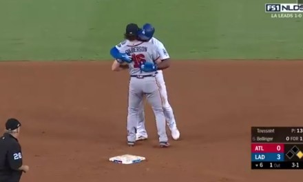 Yasiel Puig Kissed Charlie Culberson after Being Thrown Out Attempting a Delayed Steal