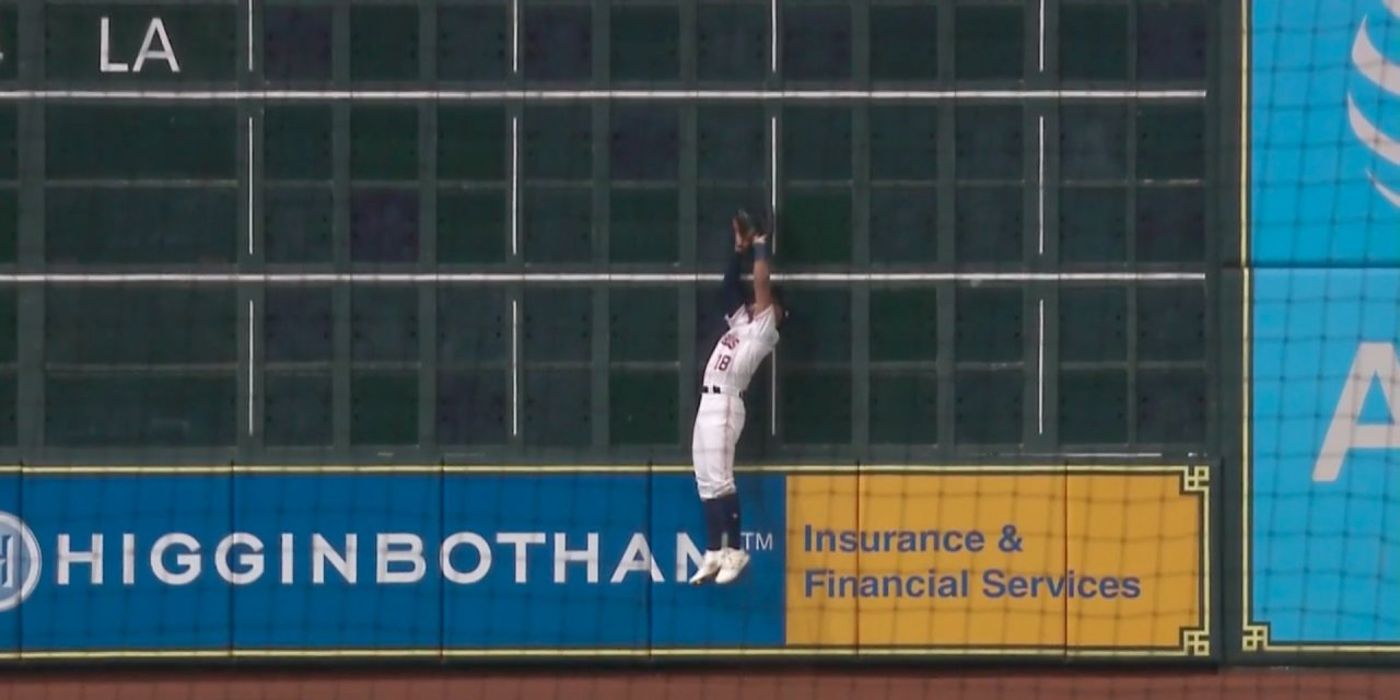 Astros Tony Kemp Showed Off His Hops to Make a Catch in Left at the Wall