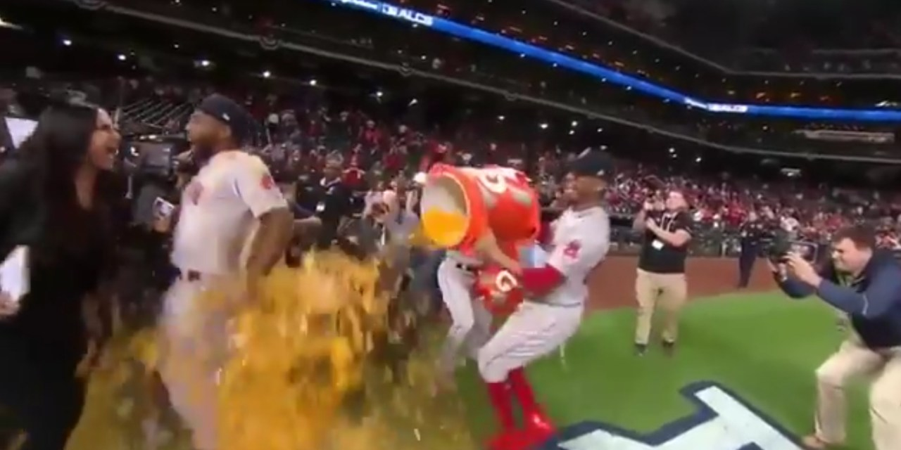 Lauren Shehadi took a Gatorade Bath with Jackie Bradley Jr.
