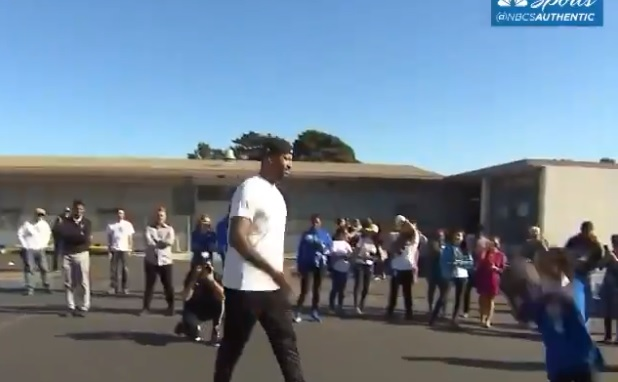 Boogie Cousins Swats Students' Shots On Visit to San Francisco Elementary School