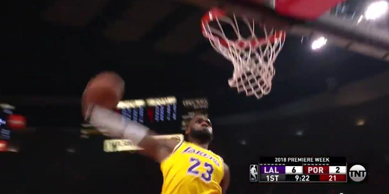 LeBron James Threw Down a Monster Dunk to Officially Announce His Arrival as a Laker