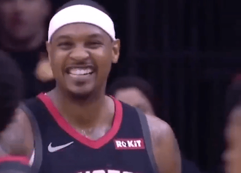 """Carmelo Anthony Lost a Rebound Out of Bounds After Yelling """"Get the F*ck Outta Here"""""""