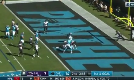 Christian McCaffrey Made a Diving Catch on a Deflected Pass in the End Zone for a Touchdown