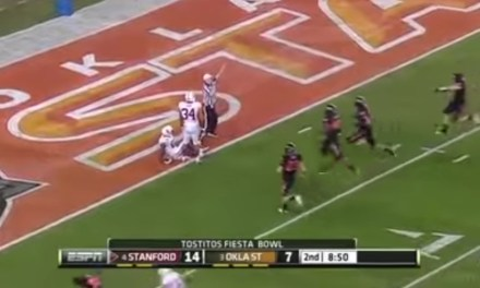 Video Surfaces of Ty Montgomery Being Tackled by a Teammate in College Trying to Take a Kickoff Out of the End Zone