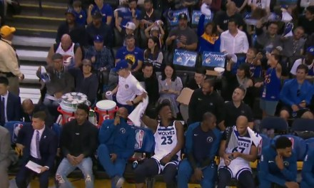 Jimmy Butler Was Rooting for the Warriors from the Timberwolves Bench