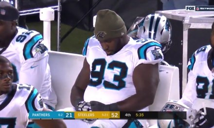 Panthers DT Kyle Love Caught Sleeping at the End of Blowout Loss to the Steelers