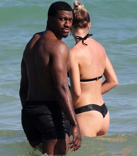 Short Haired RG3 and Wife Grete Hit Miami Beach During Bye Week