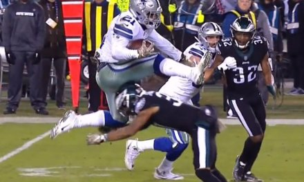 Ezekiel Elliott Hurdled a Defender for a Big Gain