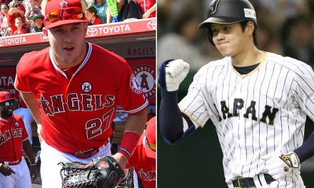 Mike Trout Checking out Shohei Ohtani in the Cage
