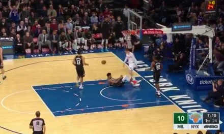 Knicks Guard Mario Hezonja Throws Down a Dunk and Steps Over Giannis Antetokounmpo