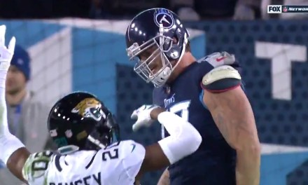 Jalen Ramsey Attempted to Draw a Flag on Taylor Lewan with One of the Worst Flops of All-Time