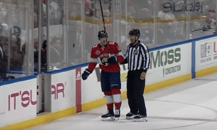Panthers' MacKenzie Weegar Given a Game Misconduct for Almost Taking a Referee's Head Off with His Stick