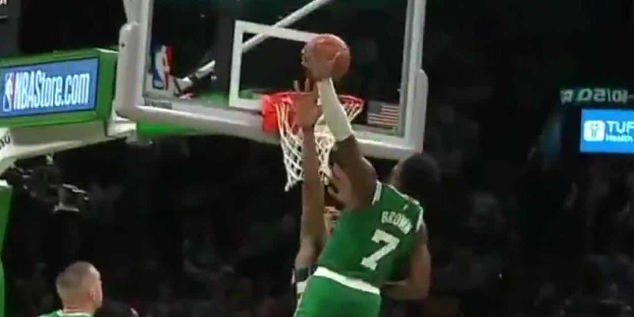 Celtics Jaylen Brown Threw Down a Dunk on Giannis Antetokounmpo then Flexed on Him Down by 15 Points