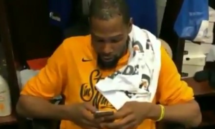 "DeMarcus Cousins Caught Kevin Durant Writing ""Travel"" on Posts Showing Boogie Dunking on Him"