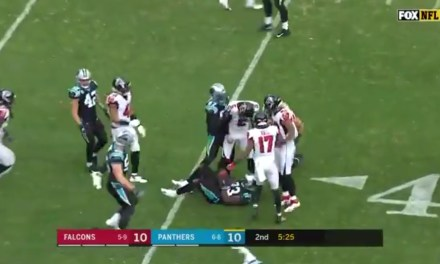 Falcons Punter Matt Bosher Bodyslammed Panthers Returner Kenjon Barner