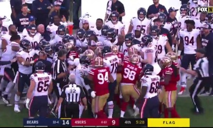 Richard Sherman, Josh Bellamy and Anthony Miller all Ejected for Throwing Punches after Hit on Mitch Trubisky