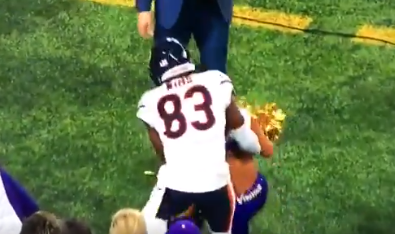 Bears WR Javon Wims Absolutely Smoked a Vikings Cheerleader with a Big Hit From Behind