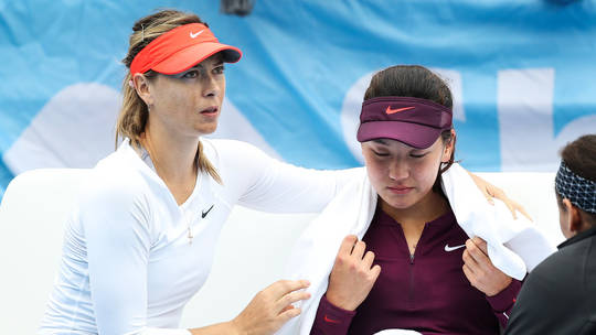 Maria Sharapova Comforts Opponent Wang Xinyu After She Pulls Out of Match
