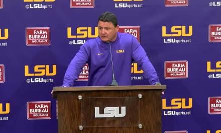 "Head Coach Ed Orgeron had LSU run ""The Big Cat Drill"" in the Locker Room at Halftime of the Fiesta Bowl"