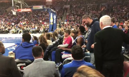 Joel Embiid Took a Seat in the Crowd and Watched Some of the Game with a Young Fan