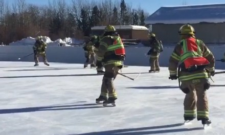 Wyoming Firefighters Played Hockey In Full Gear For Their Air Consumption Training