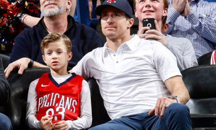 Saints QB Drew Brees Wore a Red Sox Hat and Red, White and Blue Shoes to a Pelicans Game