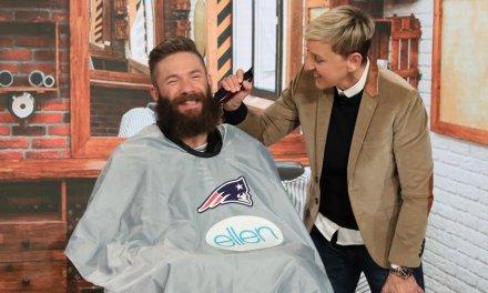 Julian Edelman Shaved his Beard on Ellen for Charity