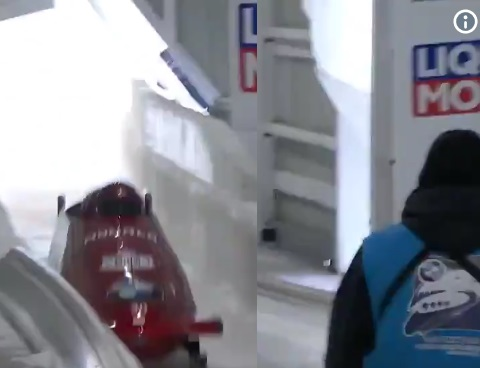 Track Worker Almost Taken Out by Bobsled at Lake Placid