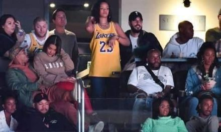 Rihanna Attended Lakers Game in a LeBron Jersey