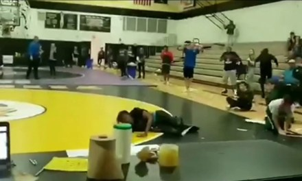 Kid Falls Through Gym Roof Onto a Wrestling Match