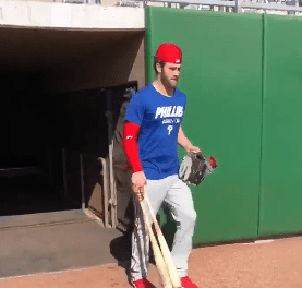 Bryce Harper Takes Batting Practice for the First Time for the Phillies