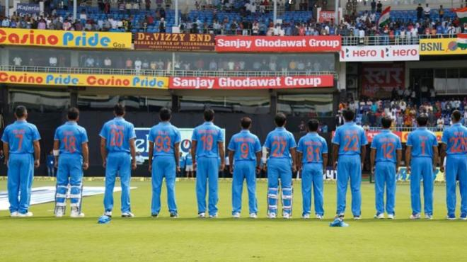 Indian Team wearing jerseys with their mother's name on them