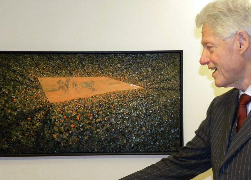 Bill Clinton viewing TAFA painting Game Overtime